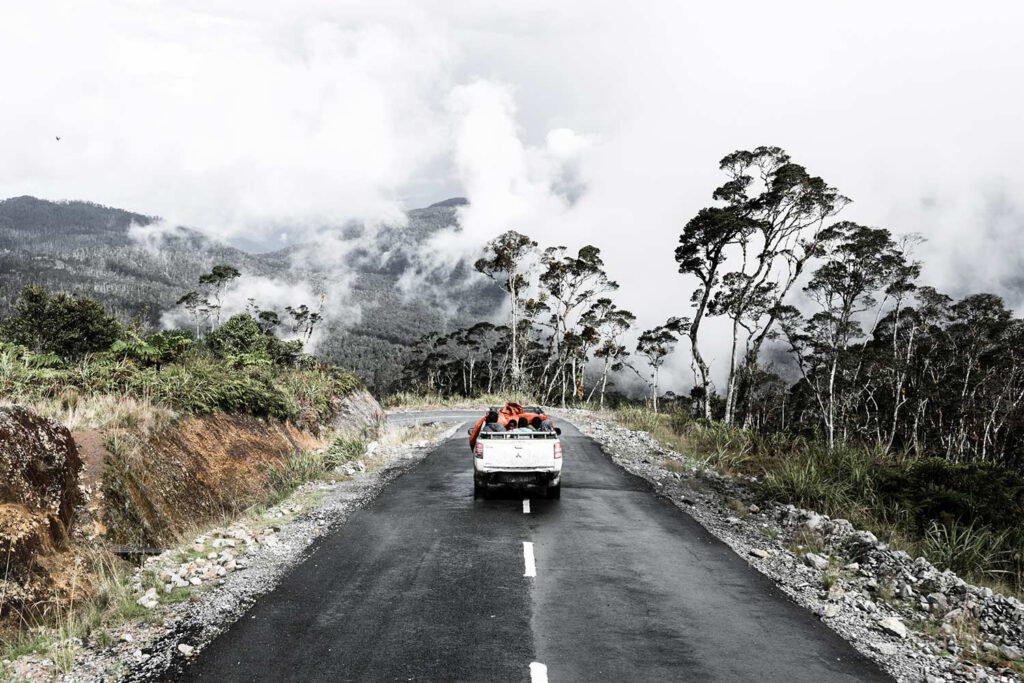 back view of a pick-up car on road with trees and clouds