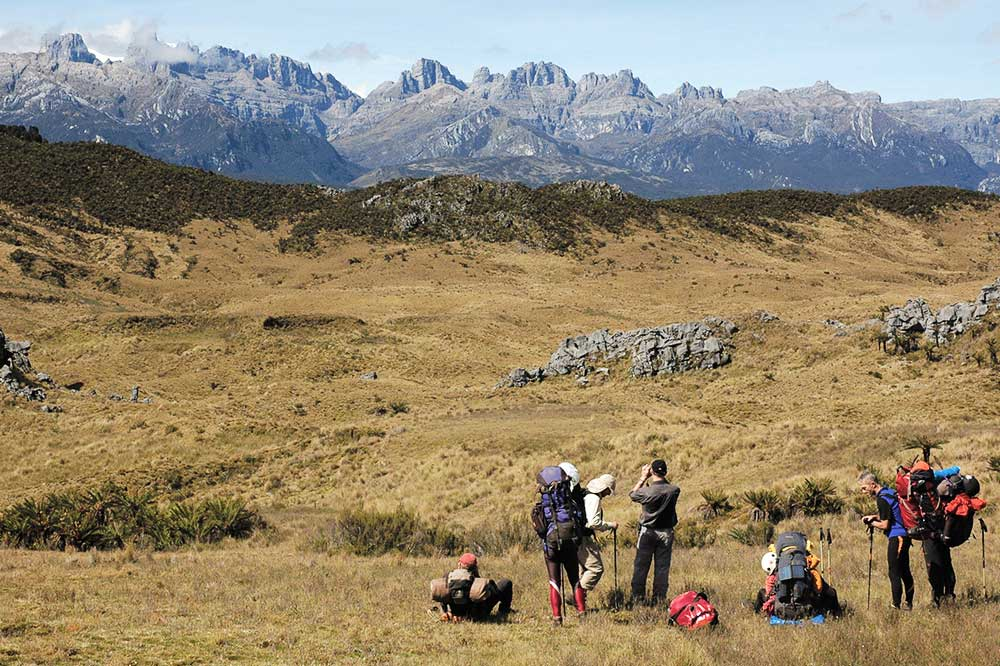 group of hikers in front of Carstensz Pyramid mountain range