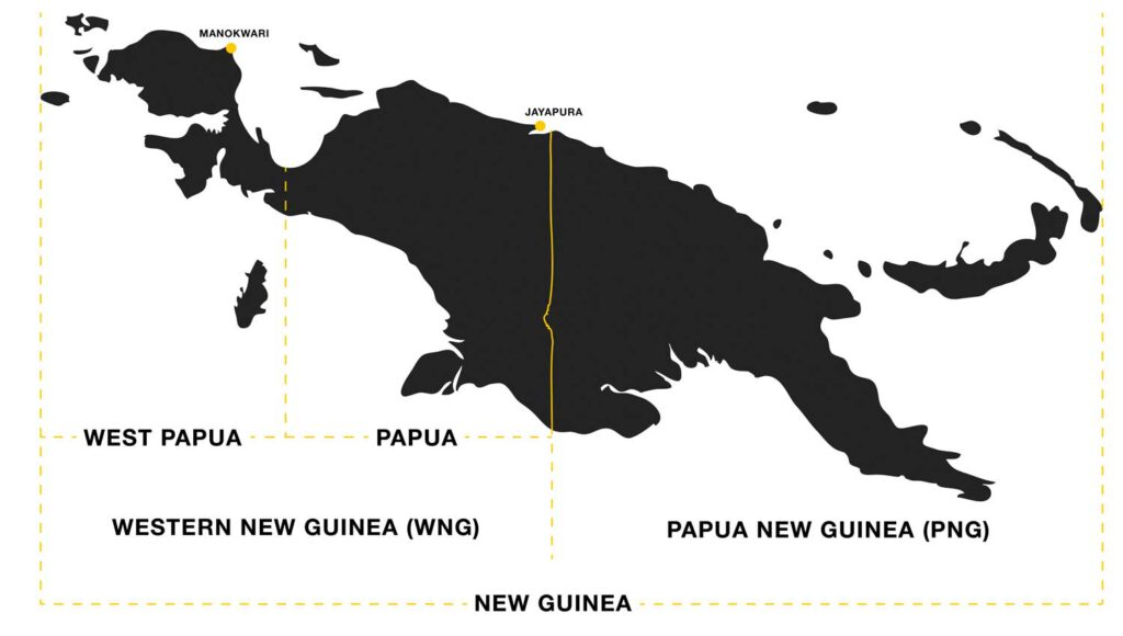 map explaining difference between west papua and papua and papua new guinea