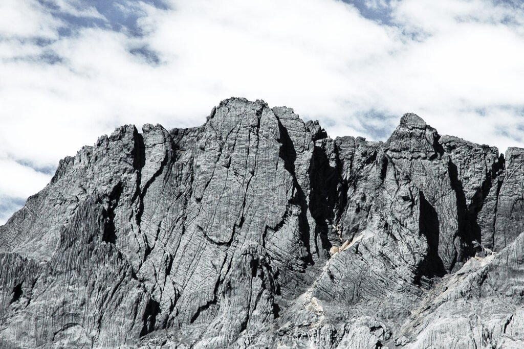 Carstensz pyramid mountain view with clouds