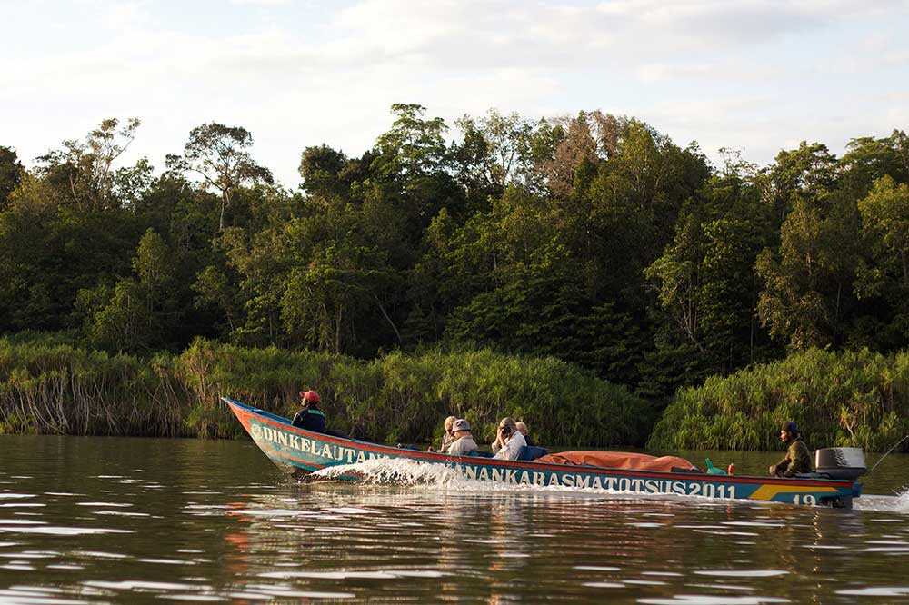 people in boat on river with forest background