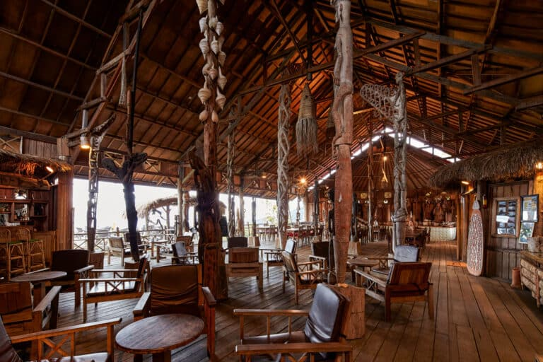 The lobby restaurant at The Baliem Valley Resort displays a large Papua art collection.